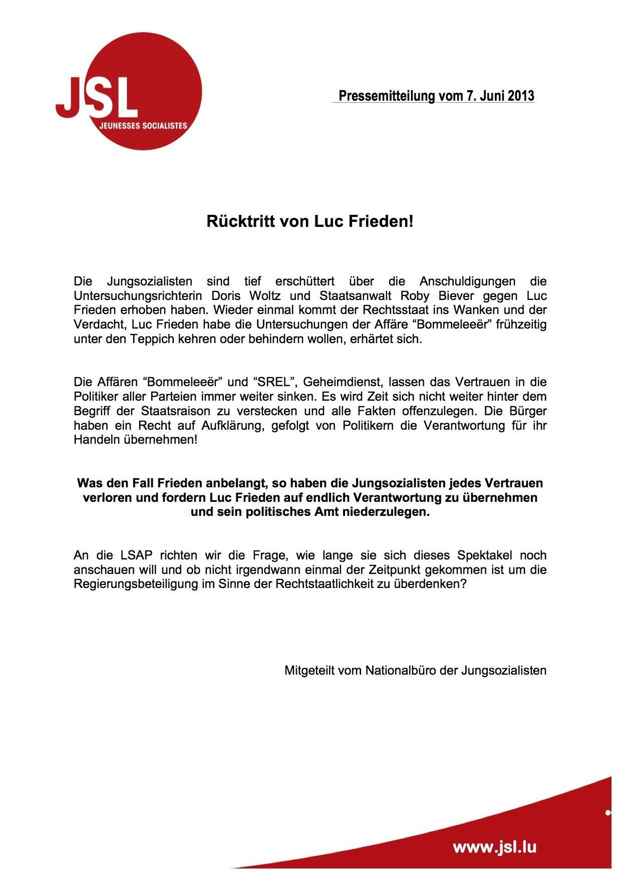 Rücktritt von Finanzminister Luc Frieden!
